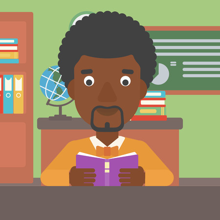 An african-american man reading a book on the background of classroom vector flat design illustration. Square layout. Illusztráció