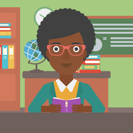 An african-american woman reading a book on the background of classroom vector flat design illustration. Square layout.