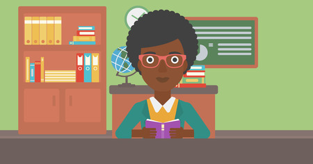 An african-american woman reading a book on the background of classroom vector flat design illustration. Horizontal layout. 일러스트