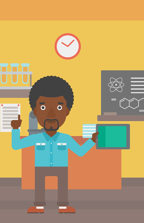 forefinger: An african-american man standing with a tablet computer and pointing his forefinger up on the background of chemistry class vector flat design illustration. Vertical layout.