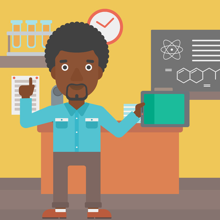 man pointing up: An african-american man standing with a tablet computer and pointing his forefinger up on the background of chemistry class vector flat design illustration. Square layout. Illustration