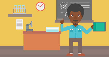 man pointing up: An african-american man standing with a tablet computer and pointing his forefinger up on the background of chemistry class vector flat design illustration. Horizontal layout. Illustration