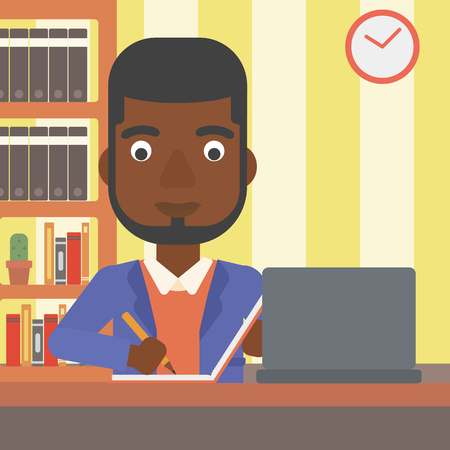 An african-american man sitting in front of laptop and taking some notes on the background of room vector flat design illustration. Square layout.