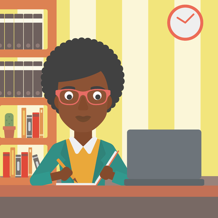 taking notes: An african-american woman sitting in front of laptop and taking some notes on the background of room vector flat design illustration. Square layout.
