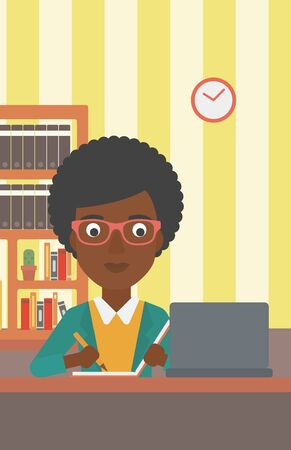 An african-american woman sitting in front of laptop and taking some notes on the background of room vector flat design illustration. Vertical layout. Illusztráció