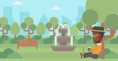 An african-american man with cup of coffee studying in park using a laptop vector flat design illustration. Horizontal layout. Ilustração