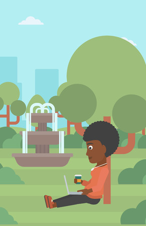 woman using laptop: An african-american woman with cup of coffee studying in park using a laptop vector flat design illustration. Vertical layout. Illustration