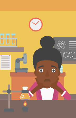 despair: An african-american woman in despair clutching her head on the background of chemistry class vector flat design illustration. Vertical layout.