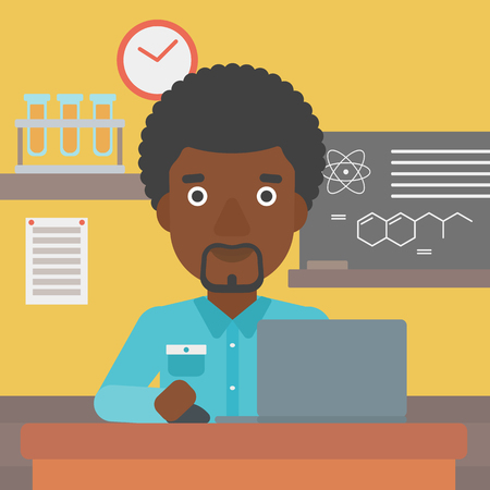An african-american man sitting at the table and working on a laptop on the background of chemistry class vector flat design illustration. Square layout.