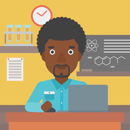 Un homme afro-américain assis à la table et de travailler sur un ordinateur portable sur le fond de vecteur de classe de chimie design plat illustration. layout Square.