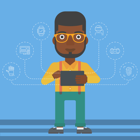 electronic device: An african-american man holding a tablet computer and some icons connected to the device on a light blue background vector flat design illustration. Square layout.