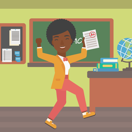 square sheet: An african-american pupil holding a sheet with the highest mark on the background of classroom vector flat design illustration. Square layout.