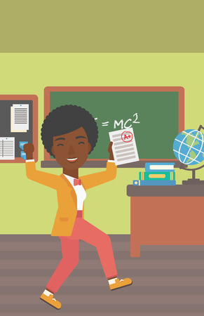 estimation: An african-american pupil holding a sheet with the highest mark on the background of classroom vector flat design illustration. Vertical layout.