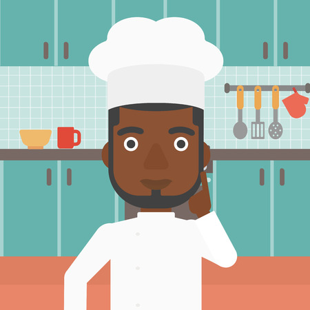 forefinger: An african-american cheerful chief-cooker in uniform pointing forefinger up on the background of kitchen vector flat design illustration. Square layout.