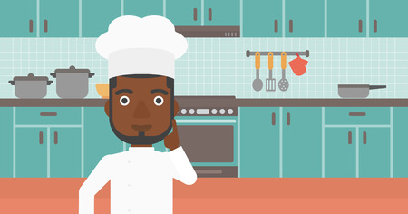 forefinger: An african-american cheerful chief-cooker in uniform pointing forefinger up on the background of kitchen vector flat design illustration. Horizontal layout. Illustration