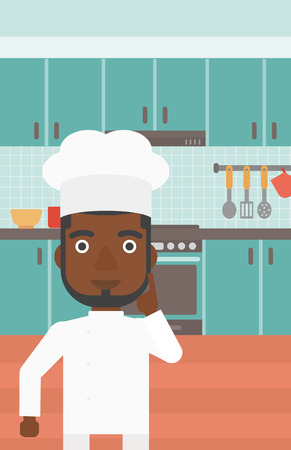 forefinger: An african-american cheerful chief-cooker in uniform pointing forefinger up on the background of kitchen vector flat design illustration. Vertical layout.