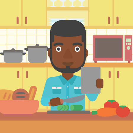 Dining Room Cartoon An African American Man Holding A Digital Tablet And Cutting Vegetables