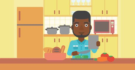 An african-american man holding a digital tablet and cutting vegetables on the background of kitchen vector flat design illustration. Horizontal layout. Illustration