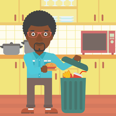 foodstuffs: An african-american man putting junk food into a trash bin on the background of kitchen vector flat design illustration. Square layout.
