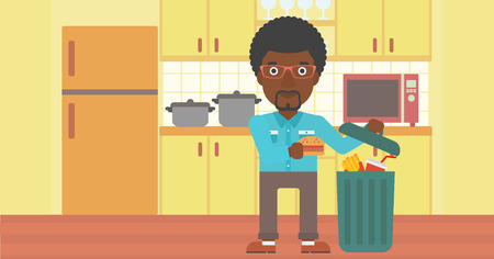 An african-american man putting junk food into a trash bin on the background of kitchen vector flat design illustration. Horizontal layout.