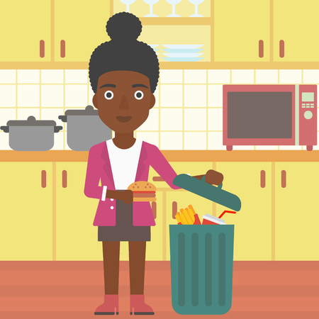 An african-american woman putting junk food into a trash bin on the background of kitchen vector flat design illustration. Square layout.