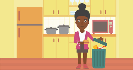 An african-american woman putting junk food into a trash bin on the background of kitchen vector flat design illustration. Horizontal layout. Ilustrace