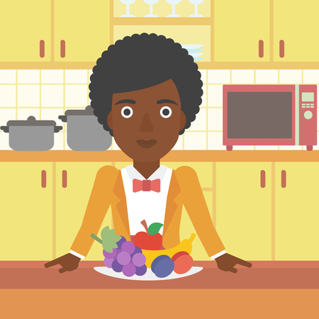 Dining Room Cartoon An African American Woman Standing In Front Of Table Full