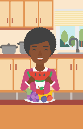 An african-american woman eating watermelon while standing in the kitchen in front of table full of organic healthy food vector flat design illustration. Vertical layout.