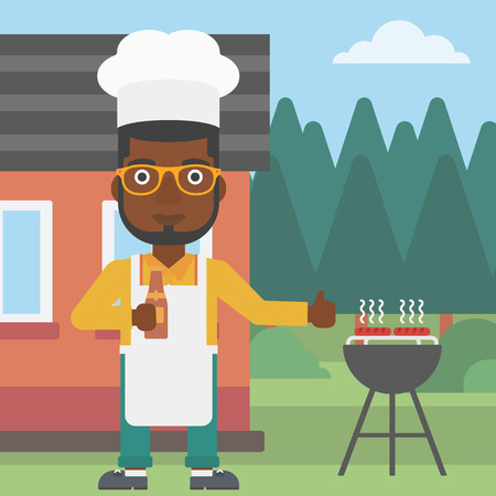 front yard: An african-american man standing next to barbecue grill in the yard in front of house and holding a bottle in hand and showing thumb up vector flat design illustration. Square layout.