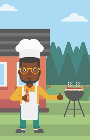front yard: An african-american man standing next to barbecue grill in the yard in front of house and holding a bottle in hand and showing thumb up vector flat design illustration. Vertical layout.