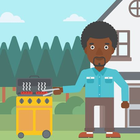 prepare: An african-american man preparing barbecue in the yard in front of house vector flat design illustration. Square layout.