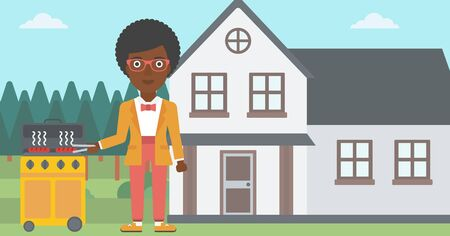 prepare: An african-american woman preparing barbecue in the yard in front of house vector flat design illustration. Horizontal layout.