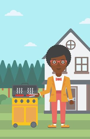 yard: An african-american woman preparing barbecue in the yard in front of house vector flat design illustration. Vertical layout. Illustration
