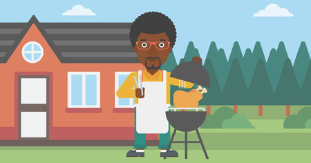 front yard: An african-american man cooking chicken on barbecue in the yard in front of house vector flat design illustration. Horizontal layout.