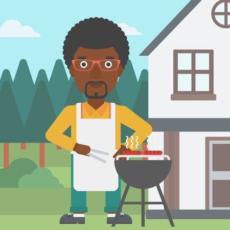 front yard: An african-american man preparing barbecue in the yard in front of house vector flat design illustration. Square layout.