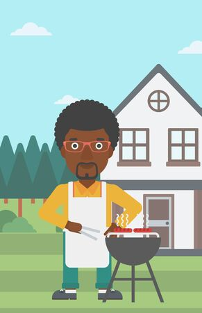 preparing: An african-american man preparing barbecue in the yard in front of house vector flat design illustration. Vertical layout. Illustration