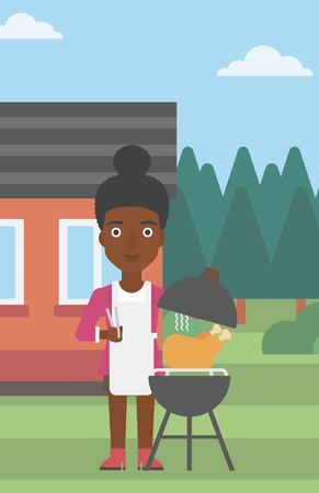 An african-american woman cooking chicken on barbecue in the yard in front of house vector flat design illustration. Vertical layout.