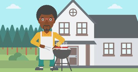 front yard: An african-american man preparing barbecue in the yard in front of house vector flat design illustration. Horizontal layout. Illustration