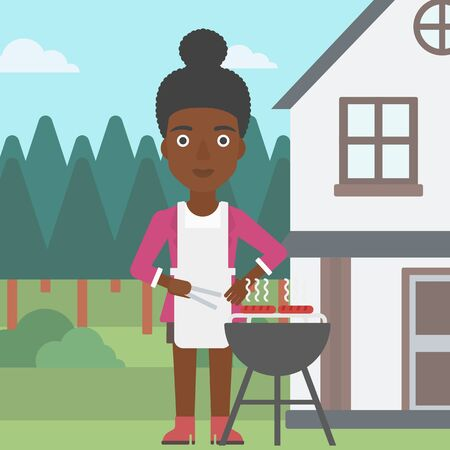 front yard: An african-american woman preparing barbecue in the yard in front of house vector flat design illustration. Square layout.