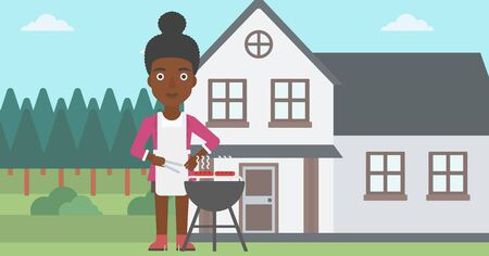preparing: An african-american woman preparing barbecue in the yard in front of house vector flat design illustration. Horizontal layout.
