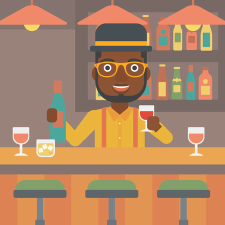 bar counter: An african-american bartender standing at the bar counter and holding a bottle and a glass in hands vector flat design illustration. Square layout.
