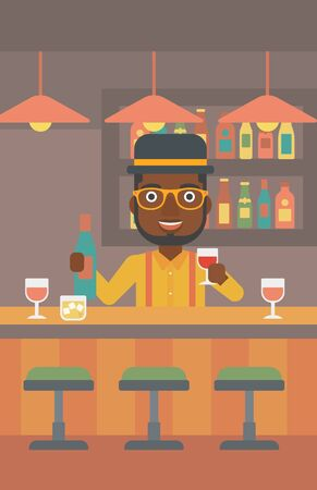 vertical bar: An african-american bartender standing at the bar counter and holding a bottle and a glass in hands vector flat design illustration. Vertical layout.