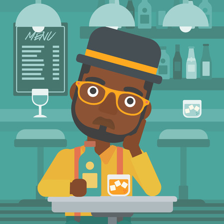An african-american sad man sitting at the table with a bottle and a glass at the bar vector flat design illustration. Square layout. Çizim