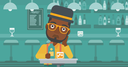 An african-american sad man sitting at the table with a bottle and a glass at the bar vector flat design illustration. Horizontal layout. 向量圖像