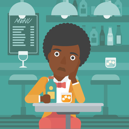 An african-american sad woman sitting at the table with a bottle and a glass at the bar vector flat design illustration. Square layout.