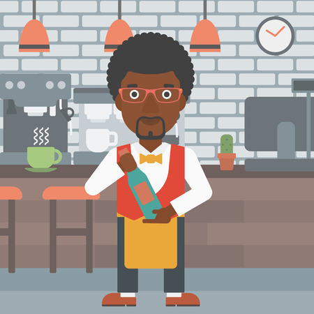 sommelier: An african-american waiter holding a bottle in hands on the background of a cafe vector flat design illustration. Square layout.