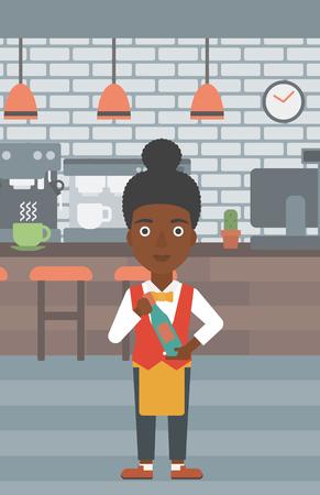 Une serveuse afro-américaine tenant une bouteille à la main sur l'arrière-plan d'un vecteur de café design plat illustration. Présentation verticale. Banque d'images - 56141488