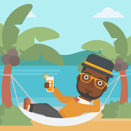 chilling: An african-american man chilling in hammock on the beach with a cocktail in a hand vector flat design illustration. Square layout. Illustration