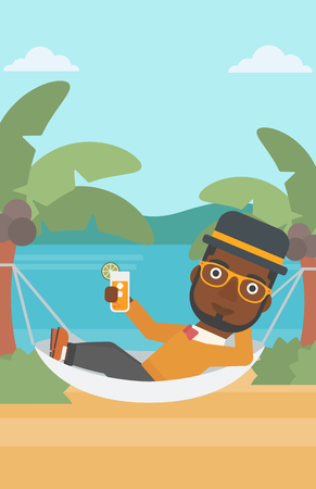 chilling: An african-american man chilling in hammock on the beach with a cocktail in a hand vector flat design illustration. Vertical layout. Illustration