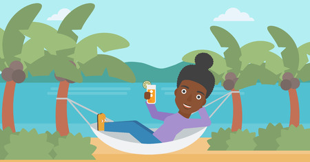 chilling: An african-american woman chilling in hammock on the beach with a cocktail in a hand vector flat design illustration. Horizontal layout.